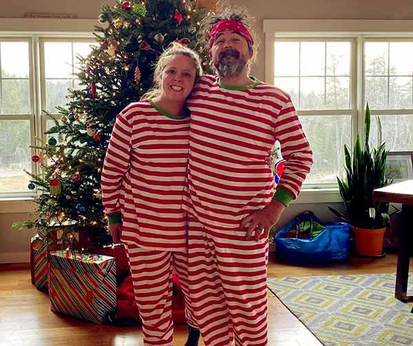 Image of Ryan Eldrighe and his wife, Ashley Morrill celebrated Christmas together